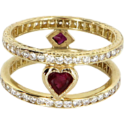 Diamond Ruby Heart Sz 6 Double Band Ring Vintage 14 Karat Gold Estate Fine Jewelry