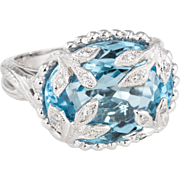 Blue Topaz Diamond Leaf Cocktail Ring Estate 18 Karat White Gold Fine Jewelry