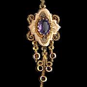 Antique Victorian Amethyst 14 Karat Gold Drop Fringe Pendant Vintage Fine Jewelry