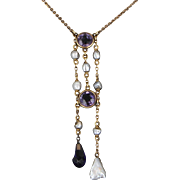 Antique Victorian Drop Necklace Amethyst Pearl 10 Karat Gold Vintage Jewelry Heirloom