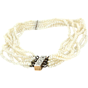 Vintage Art Deco 8 Strand Seed Pearl Diamond Bracelet 14 Karat Gold Estate Jewelry