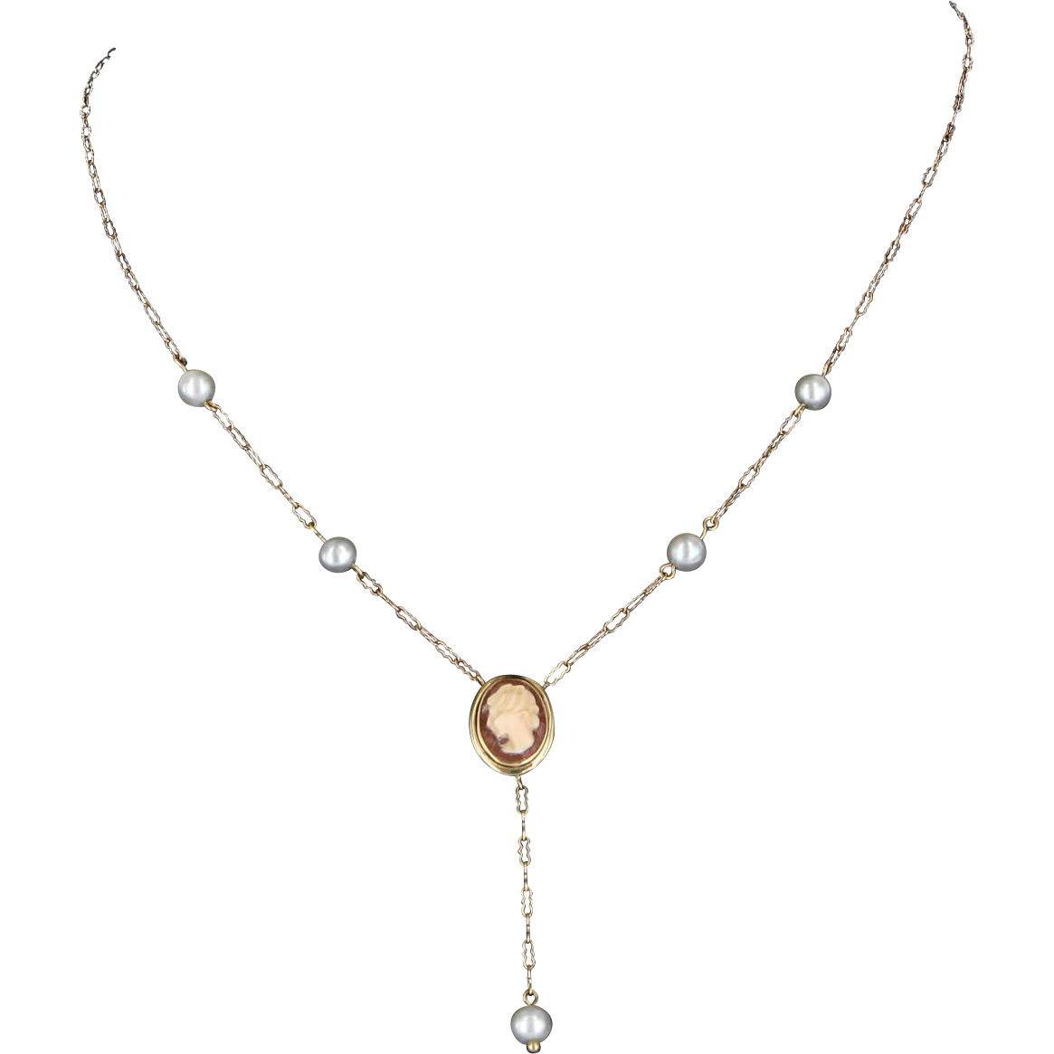 Cameo Pearl Drop Necklace Vintage 14 Karat Yellow Gold Estate Fine Jewelry Heirloom