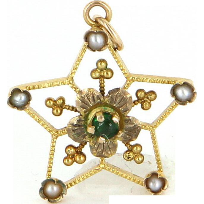 Star Flower Pendant Vintage 14 Karat Gold Seed Pearl Estate Fine Jewelry Jewelry