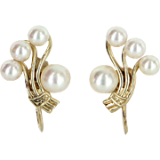 Mikimoto Cultured Akoya Pearl Cluster Earrings Vintage 14 Karat Yellow Gold Estate