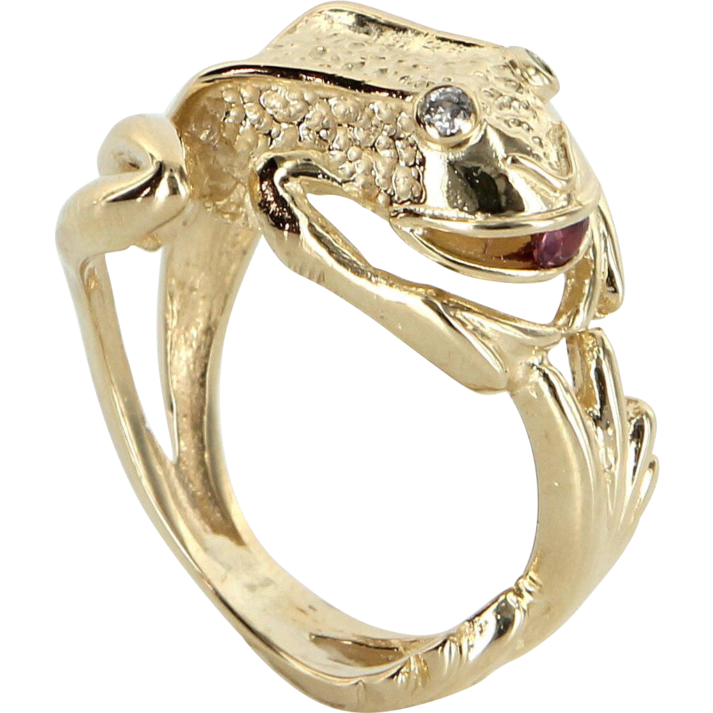 Frog Wrap Ring Vintage 14 Karat Gold Diamond Emerald Estate Fine Jewelry Pre Owned