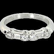 Antique Deco Mixed Cut Diamond 900 Platinum Wedding Band Ring Vintage Jewelry 6