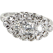 Diamond Navette Ring Vintage 14 Karat White Gold Estate Fine Jewelry Heirloom 7