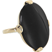 Large Black Onyx Cocktail Ring Vintage 10 Karat Yellow Gold Estate Fine Jewelry