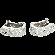 Chanel Matelasse 18 Karat White Gold Quilt Earrings Pre Owned Fine Designer Jewelry