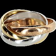 les must de Cartier Trinity 18 Karat Tri Gold Ring Sz 53 Estate Fine Designer Jewelry