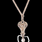 Antique Victorian Diamond Pearl Lavalier Pendant Necklace Vintage 10 Karat Gold