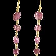 Pink Tourmaline Pendant Drop Earrings Vintage 22 Karat Yellow Gold Estate Jewelry