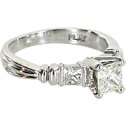 Scott Kay Three Stone Diamond 900 Platinum Engagement Ring Pre Owned Jewelry 5.75