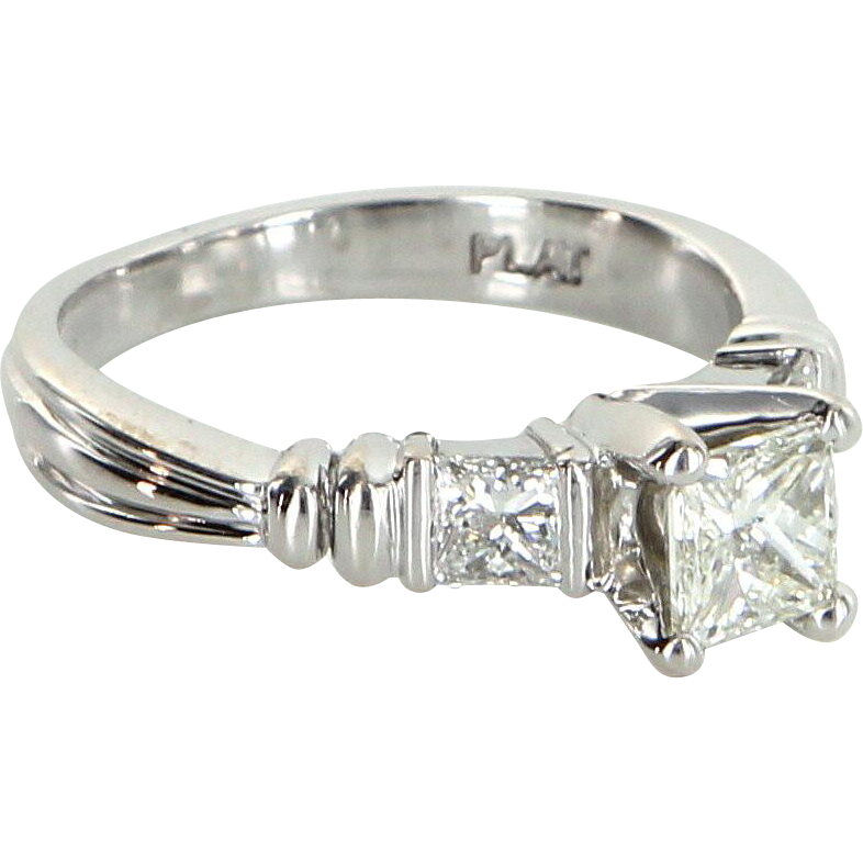 Scott Kay Three Stone Diamond 900 Platinum Engagement Ring Pre Owned Jewelry 5.75