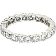 Tiffany & Co 2ct Diamond Eternity Sz 6.5 Ring 950 Platinum Fine Estate Jewelry