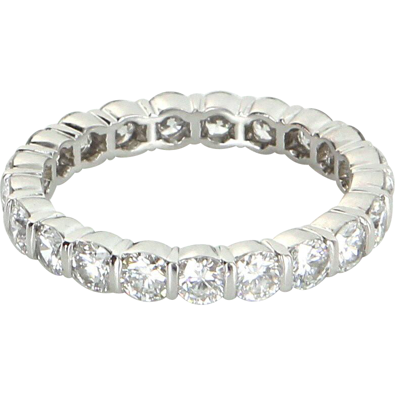 Tiffany & Co 2ct Diamond Eternity Sz 6.5 Ring 950 Platinum Fine Estate Jewelry