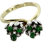 Double Tulip Flower Cocktail Ring Vintage Emerald Diamond 14 Karat Gold Estate Fine Jewelry