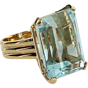 Large 40ct Aquamarine Cocktail Ring Vintage 18 Karat Gold Estate Fine Jewelry 5.5 Pre Owned
