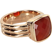 Carnelian Cocktail Ring Vintage 18 Karat Rose Gold Estate Fine Jewelry Pre Owned