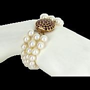 3 Strand Cultured Pearl Ruby Bracelet Vintage 14 Karat Gold Estate Fine Jewelry
