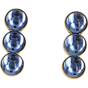 Lalique Blue Crystal Three Tier Drop Earrings Fine Designer Jewelry