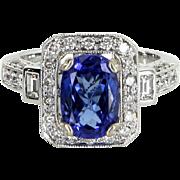 Tanzanite Diamond Cocktail Ring Vintage 14 Karat White Gold Estate Fine Jewelry