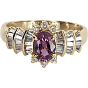 Pink Sapphire Diamond Cocktail Ring Vintage 14 Karat Yellow Gold Estate Fine Jewelry