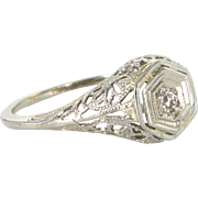 Vintage Art Deco Filigree Mine Diamond Ring 14 Karat White Gold Estate Fine Jewelry 4
