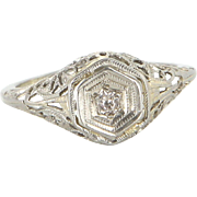 Vintage Art Deco Filigree Mine Diamond Ring 14k White Gold Estate Fine Jewelry 4