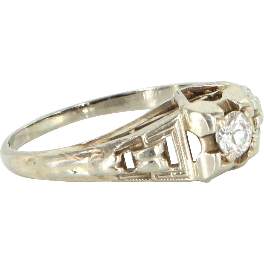 Vintage Art Deco Diamond Ring 14 Karat White Gold Vintage Fine Jewelry Pre Owned
