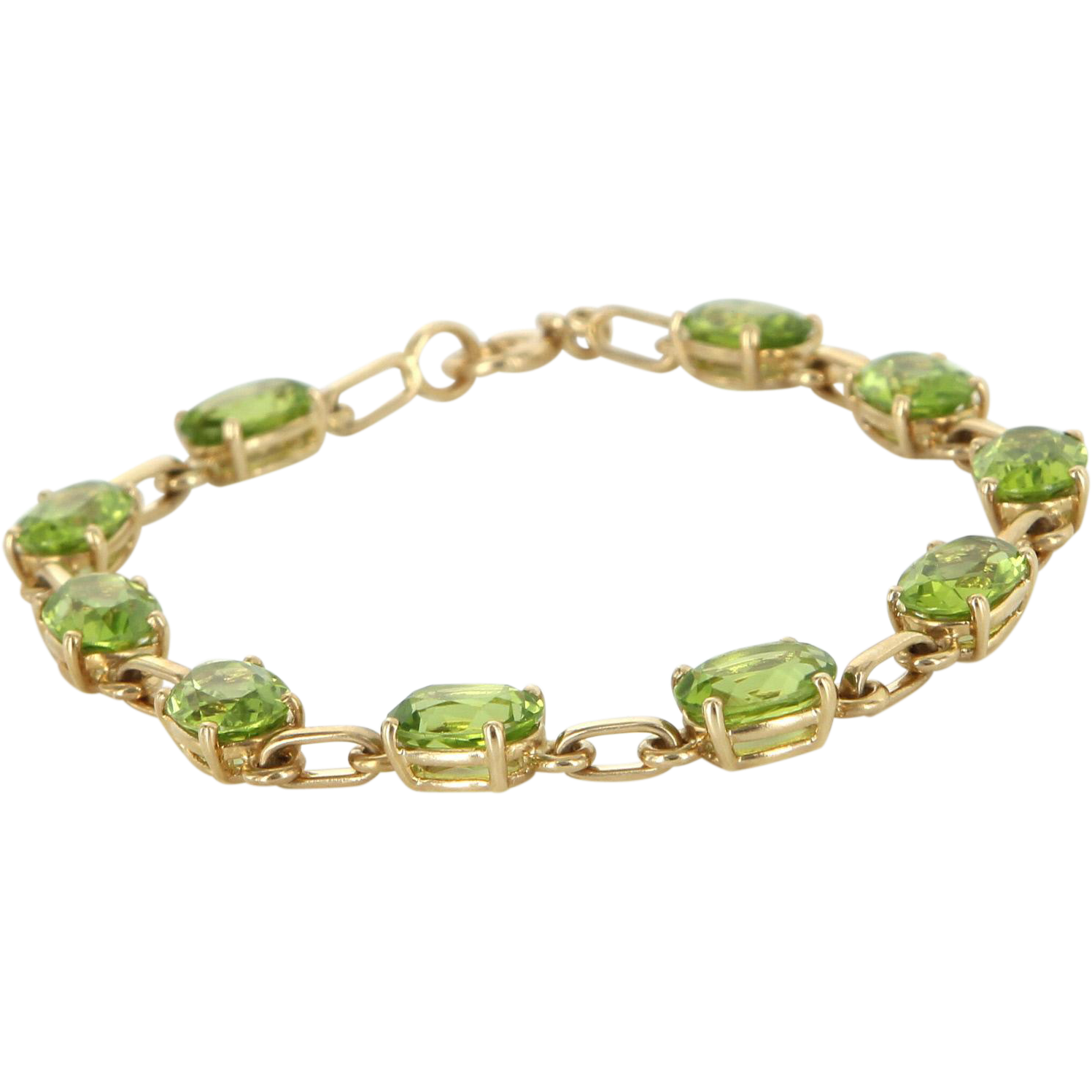 Peridot Tennis Line Bracelet Vintage 14 Karat Yellow Gold Estate Fine Jewelry 7""