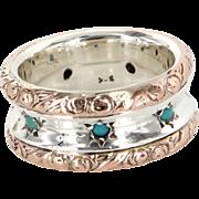 Turquoise Vintage Embossed Eternity Ring 10 Karat Rose Gold 925 Sterling Silver Sz 8 Estate Jewelry