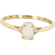 Small Opal Diamond Stacking Ring Vintage 14 Karat Gold Estate Fine Jewelry Sz 6.5