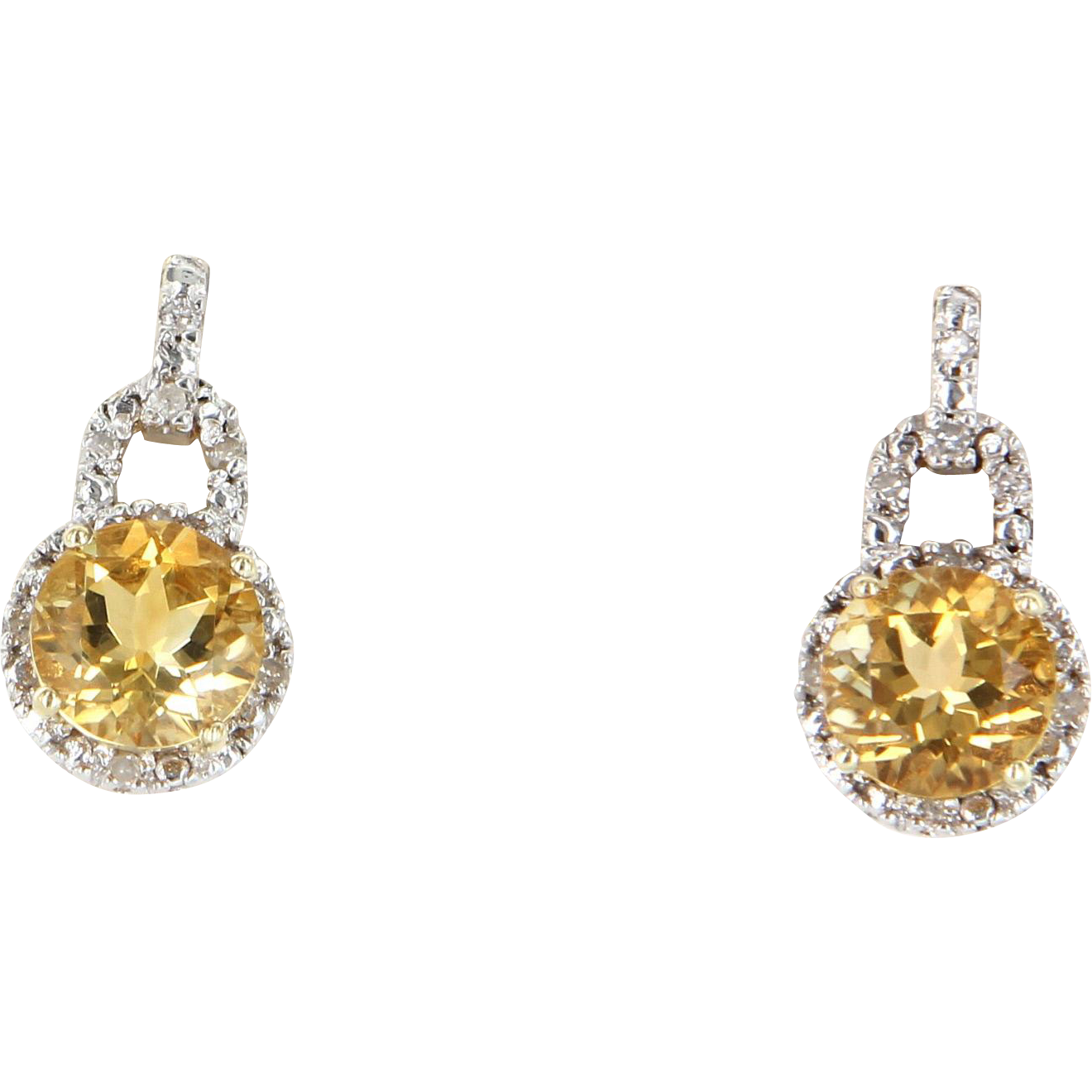 Citrine Diamond Drop Earrings Vintage 10 Karat Yellow Gold Estate Fine  Jewelry