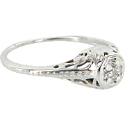 Vintage Deco Filigree Mine Diamond Ring 18 Karat White Gold Estate Fine Jewelry