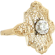 Diamond Filigree Ring Vintage 10 Karat Yellow Gold Estate Fine Jewelry Pre Owned