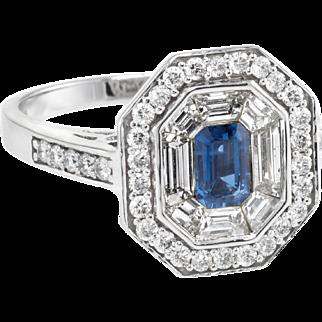 Diamond Sapphire Hexagonal Cocktail Ring Vintage 14 Karat White Gold Estate Jewelry