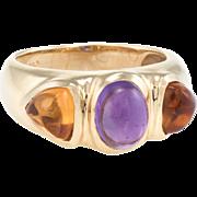 Sugarloaf Citrine Amethyst Band Ring Vintage 14 Karat Yellow Gold Estate Jewelry