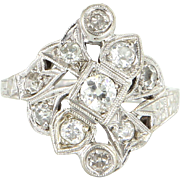 Vintage Art Deco Diamond 14 Karat White Gold Cocktail Ring Estate Fine Jewelry Heirloom