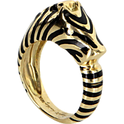Judith Leiber Zebra Ring Vintage 18 Karat Gold Estate Fine Animal Jewelry Pre Owned