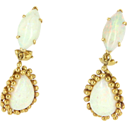 Natural Opal Drop Vintage Clip Earrings 14 Karat Yellow Gold Estate Fine Jewelry