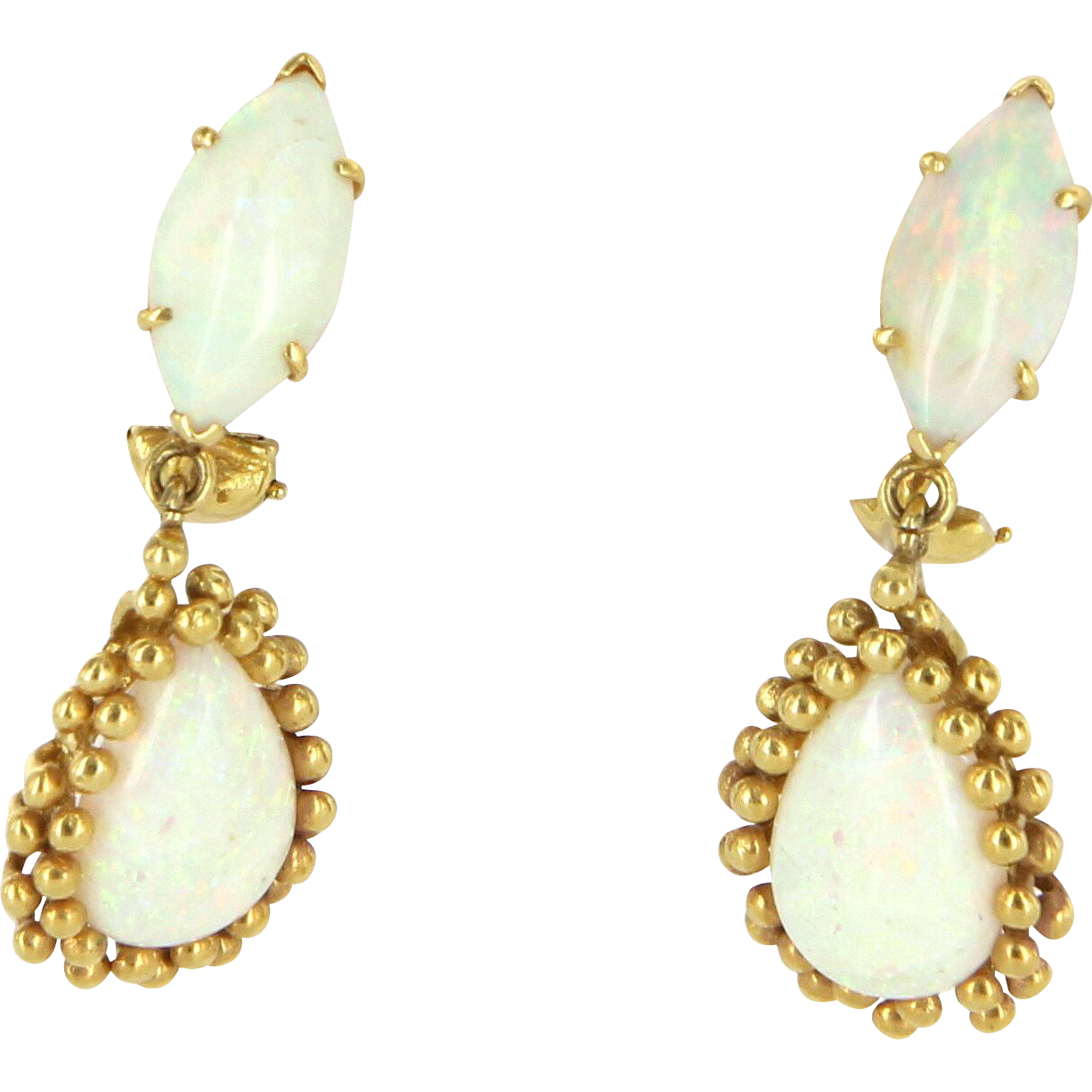 Natural Opal Drop Vintage Clip Earrings 14 Karat Yellow Gold Estate Fine Jewelry