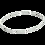 Cartier Sz 18 Estate 10 Diamond Love Bangle Bracelet 18 Karat White Gold Jewelry