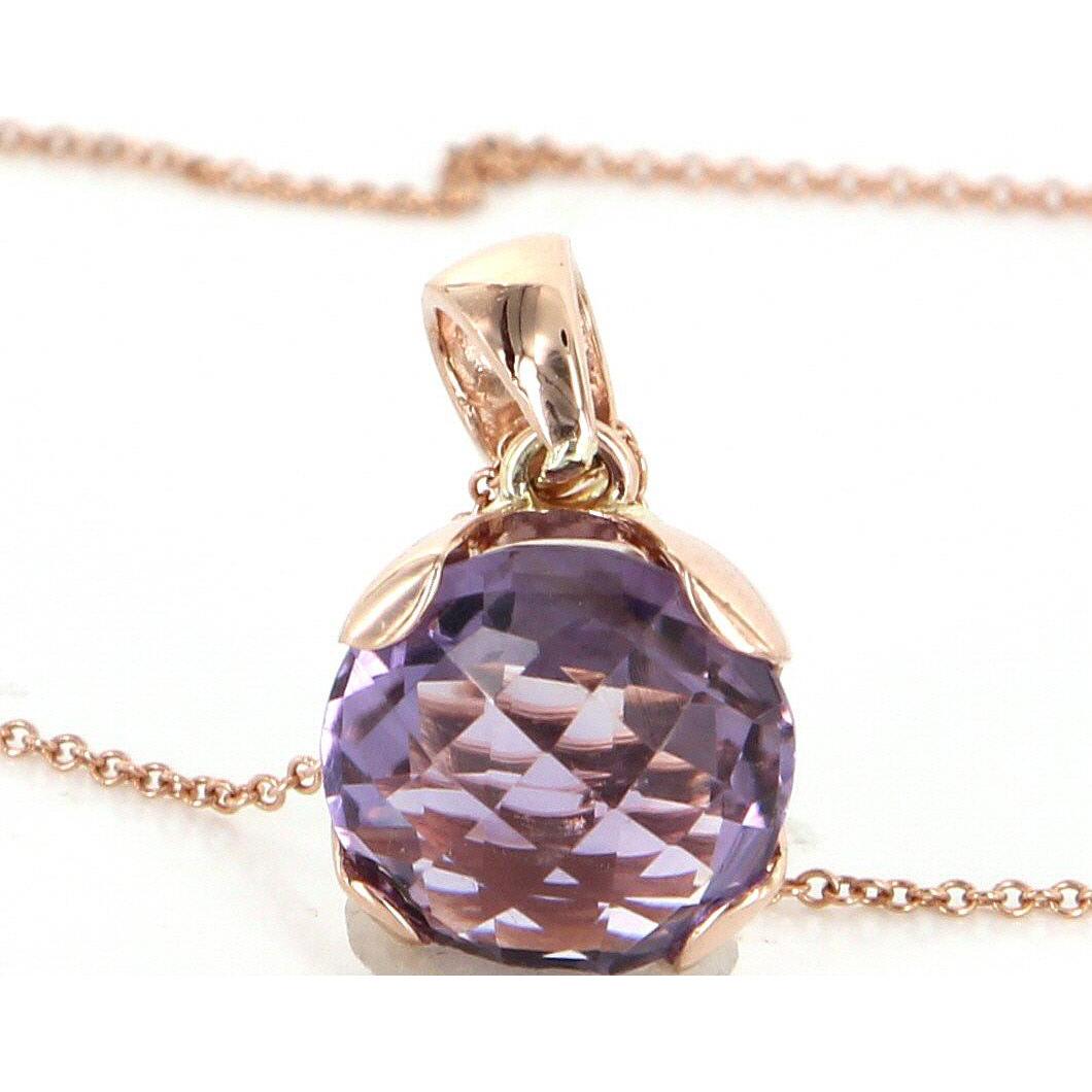 Amethyst 14 karat rose gold vintage pendant necklace for 14 karats fine jewelry