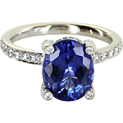 Tanzanite Diamond Ring Vintage 18 Karat White Gold Estate Fine Jewelry Pre Owned