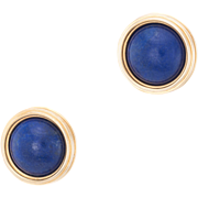 Lapis Lazuli Round Disc Stud Earrings Vintage 14 Karat Yellow Gold Estate Jewelry