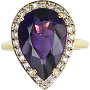 Amethyst Diamond Pear Cocktail Ring Vintage 18 Karat Yellow Gold Estate Jewelry Fine