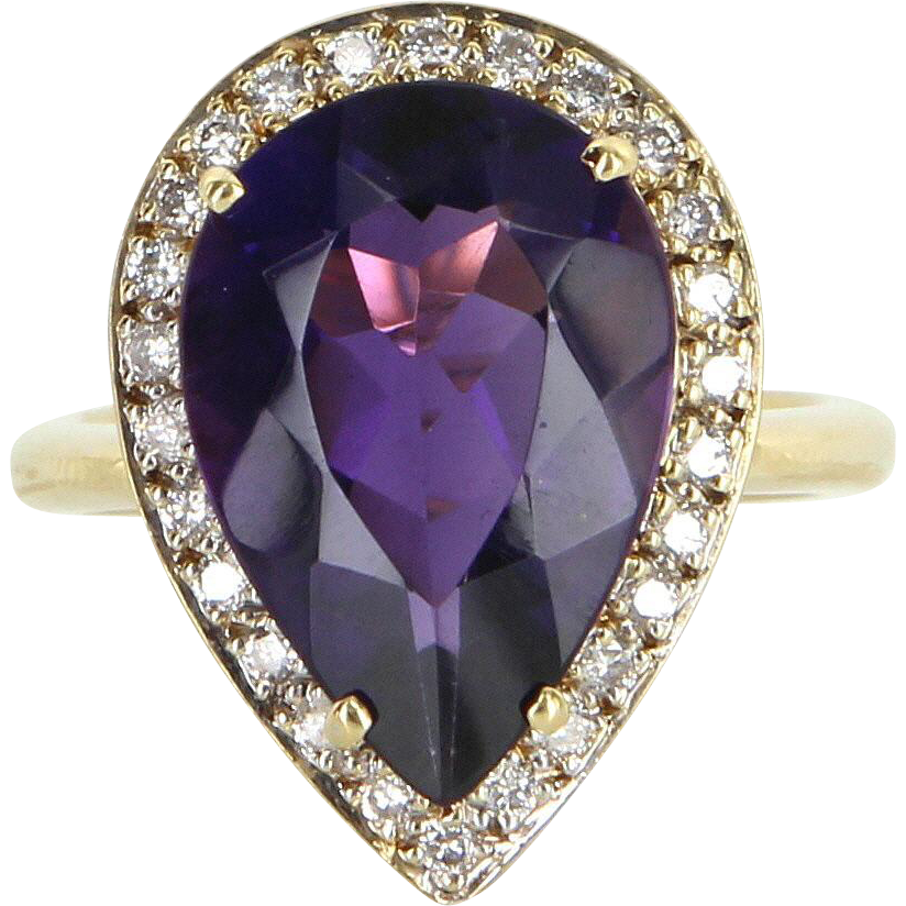 Amethyst Diamond Pear Cocktail Ring Vintage 18 Karat Yellow Gold Estate Jewelry Fine