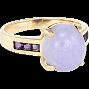 Lavender Jade Amethyst Cocktail Ring Vintage 14 Karat Yellow Gold Estate Fine Jewelry
