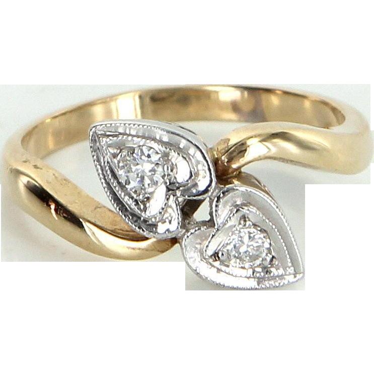 Diamond Double Heart Ring Vintage 14 Karat Yellow Gold Estate Fine Jewelry Heirloom